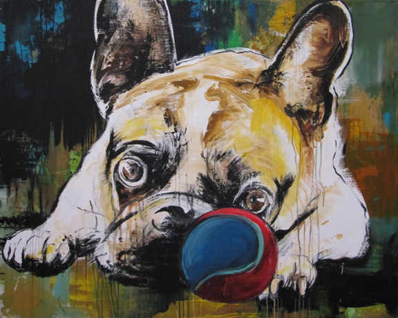 48X60 dog with ball